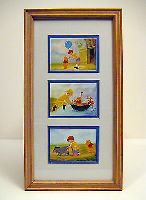 Disney WINNIE the POOH & FRIENDS Picture Framed Matted Under Glass 15 x 8