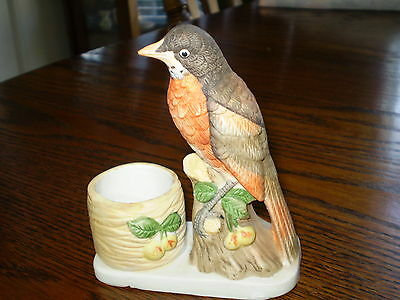 RARE! 1979 Hand Painted Porcelain Jasco Luvkin Songbird Robin Candle Holder!