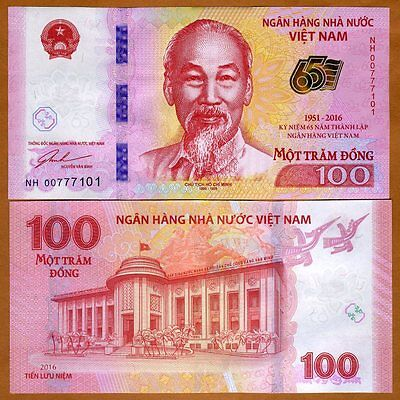 Vietnam, 100 dong, 2016 P-New, UNC > Commemorative, 65th Anniversary