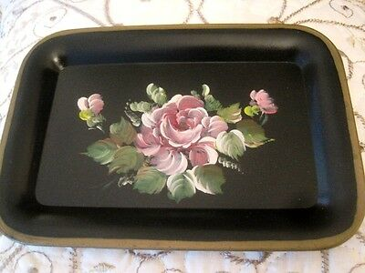 Pretty Hand Painted Shabby Pink Roses Country French Chic Dresser Tole Tray