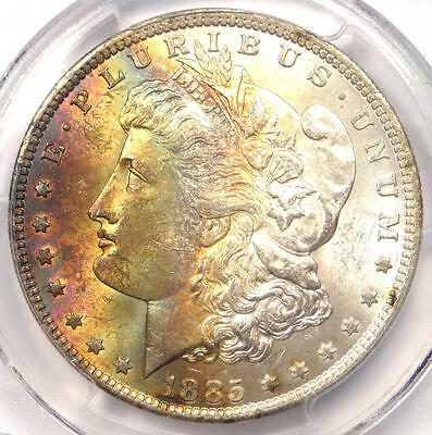 1885-O Toned Morgan Silver Dollar $1 - PCGS MS62 CAC - Excellent Rainbow Toning!