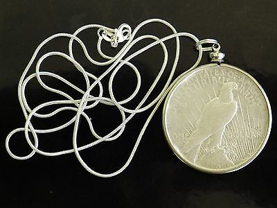 "1922 United States ""Peace Dollar"" Silver 90%  $1 coin necklace"