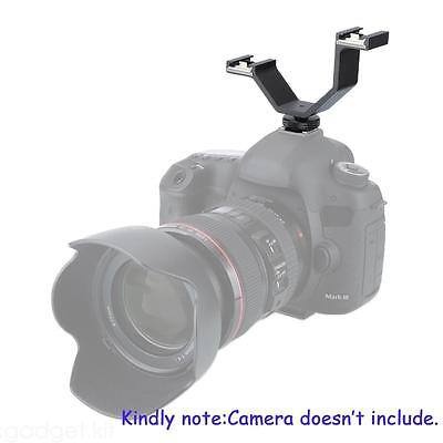 Light MQ-DHA Double Cold Shoes Bracket Adapter For DSLR Camera Flash GA