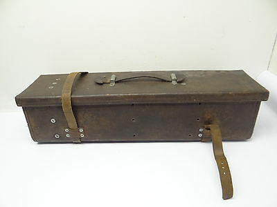 Vintage Used Leather Surveyors Rectangular Instrument Carrier Box Holder Old