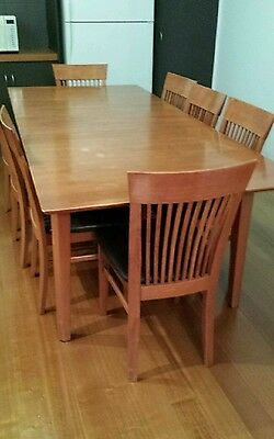 Timber Extendable Dining Table with 8 Chairs Pick Up from Geelong