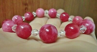 12mm & 10mm Hot Pink Red Jade Beads & 4mm White Crystal Beads Bracelet 7 inches