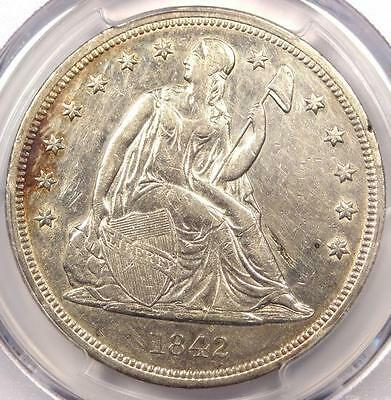 1842 Seated Liberty Silver Dollar $1 - PCGS AU Details - Rare Early Date Coin!