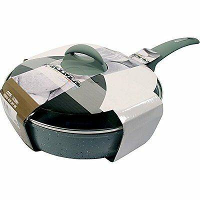 24Cm Deep Frying Pan Saucepot With Glass Lid Marble Coating Non Stick Kitchen