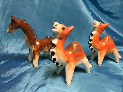 Vintage Small Ceramic Camel & Horse Figurines Made In Japan Notched Necks