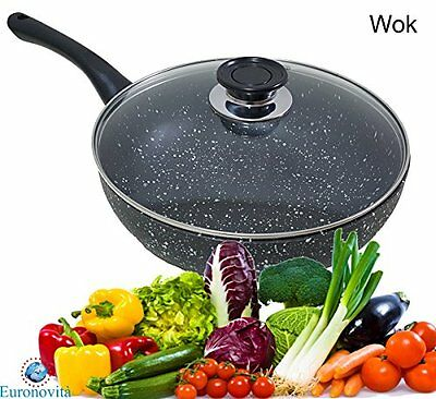 Frying Pan Wok Non-Stick Black Volcanic Lava Stone Coating with Glass Lid