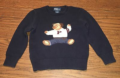 Vintage 1990's Ralph Lauren Polo Sweater Teddy Bear Hand Knitted Childs Sz 6