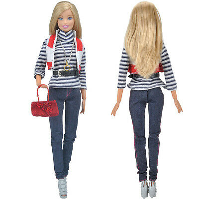 Handmade Dolls Clothes Shirt Trousers Outfit+handbag+Shoes For Barbie Dolls S