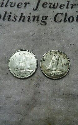 Canada Dime Qty(2) Coin 1968 & 1974 Canadian Coins