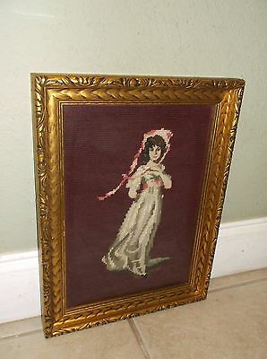 Vintage Pinkie Needlepoint Art Piece