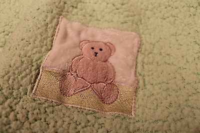 BEANSPROUT Green Sherpa with Satin Trim and Back Teddy Bear Baby Blanket