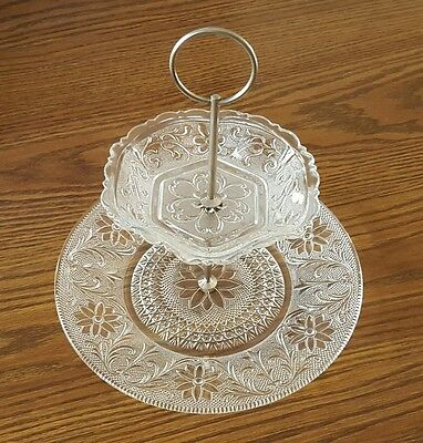 2-Teir ETCHED GLASS Appetizer & Dessert Serving Tray in Excellent Condition!