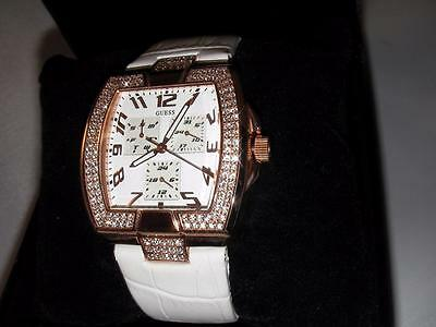 New Guess Ladies White Leather Gold Tone Watch