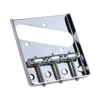 3 Saddle Ashtray Bridge Tailpiece Chrome Plated for Tele Electric Guitar Y3U1
