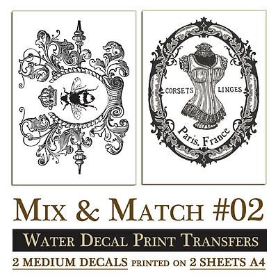 MIX & MATCH #2 Print Transfer Water Decal SHABBY CHIC FURNITURE: 2x medium decal