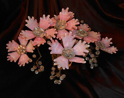 Antique Victorian Art Glass Flowers & Crystal Beads In Vase Sculpture Stunning!