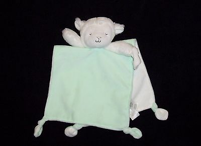 Carters Green White Lamb Baby Blanket Pacifier Holder Soft Plush Security Lovey