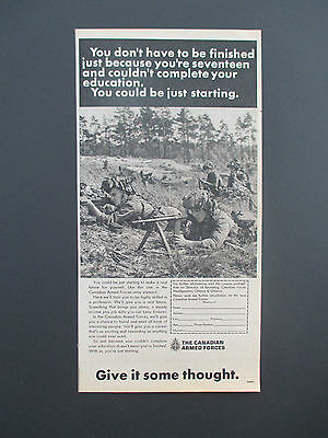"""Vintage 1970 Canadian Armed Forces Print Ad, 12.25"""" X 6.25"""""""