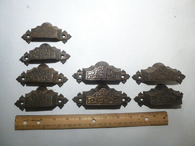 8 Vintage 1872 Cast Iron Drawer Pulls Victorian Ornate small large and screws