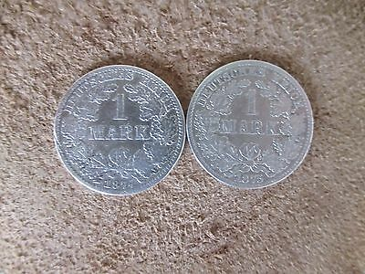 German  Empire ,Germany lot 2 silver coins 1 mark,1874-75