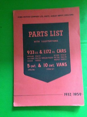 Ford Motor Company Parts List 1932 to 1959