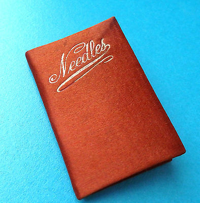 Antique Sewing Satin On Card Folding Needle Book ,needle Book