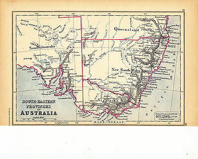 'AUSTRALIA - SOUTH EASTERN PROVINCES'  MAP [30] by EDWARD WELLER - 1897