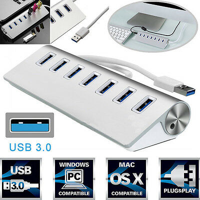 Premium USB3.0 HUB 7 Ports For Hard Disk Drives Macbook Laptop 5Gbps High Speed