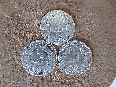 German  Empire ,Germany lot 3 silver coins 1/2 mark,1905,6,7