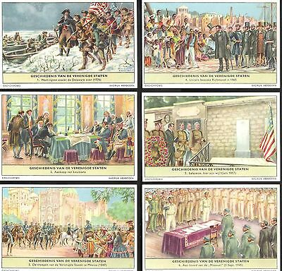 1956,liebig,*history Of The U.s.a.*,f1640 / S1659,set Of 6 Cards