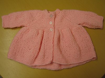 New Hand-Knitted Wool/Woolen Bright Pink Baby Girl/Baby Girl's Jacket/Coat