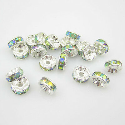 NEW for jewelry  100pcs size 8MM Plated silver crystal spacer beads colors AB