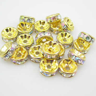 NEW for jewelry 100pcs Size 8MM Plated golden crystal spacer beadsWhite AB color