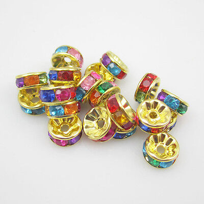NEW for DIY 100pcs 8MM Plated golden crystal spacer beads Peacock  multicolor