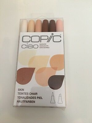 """Copic Ciao Markers - 1 pack of 6 """"SKIN"""" coloured Markers RRP $99"""