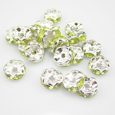 NEW DIY jewelry 100pcs 8MM Plated silver crystal spacer beads Olive green
