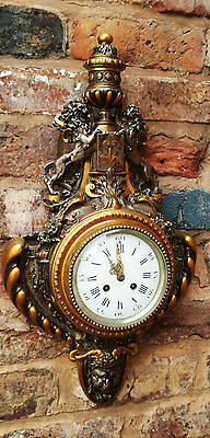 Stunning Antique French German White Bronze Cartel Wall Clock