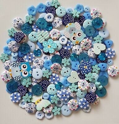 150 Stunning Quality Blue Wood & Resin Buttons Satin Bows Scrapbooking Craft Diy