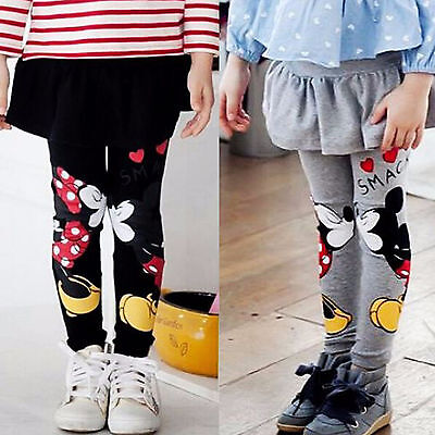 Toddler Baby Kids Girls Mickey Minnie Mouse Skirt Pants Winter Warm Cute Legging