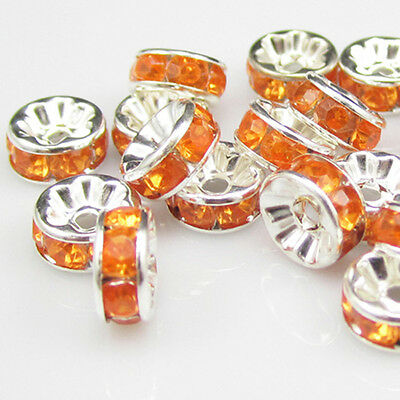 New for jewelry 100pcs Size 8MM Plated silver crystal spacer beads Orange colors