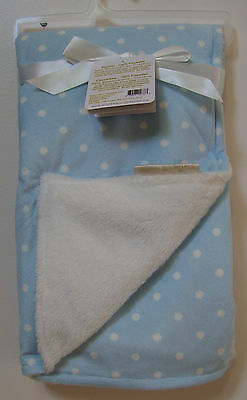 Boys Girls Blankets and Beyond Blue White Polka Dot Soft Baby Blanket NWT