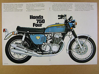 1969 Honda 750 Four CB750 Motorcycle color photos vintage print Ad