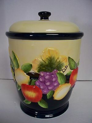Hand Painted Fruit Cookie Jar Canister Raise Fruit Grapes Apple for Nonni's