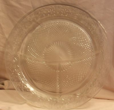 6 Indiana Glass DAISY SANDWICH Divided Grill Plates in Clear Glass