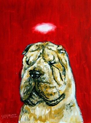 shar pei angel dog signed art print 11x17 artist animals impressionism