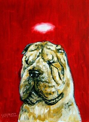 chinese shar pei angel signed dog art PRINT 11x17 glossy reproduction portrait